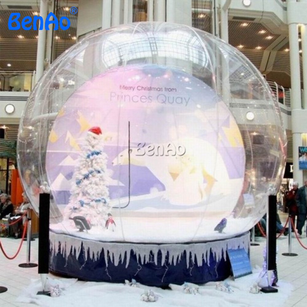 X227 Free shipping+blower  3m  inflatable christmas snow globe,Christmas Bubble Tent For Photo Events for sale 3m diameter empty inflatable snow ball for advertisement christmas decorations giant inflatable snow globe