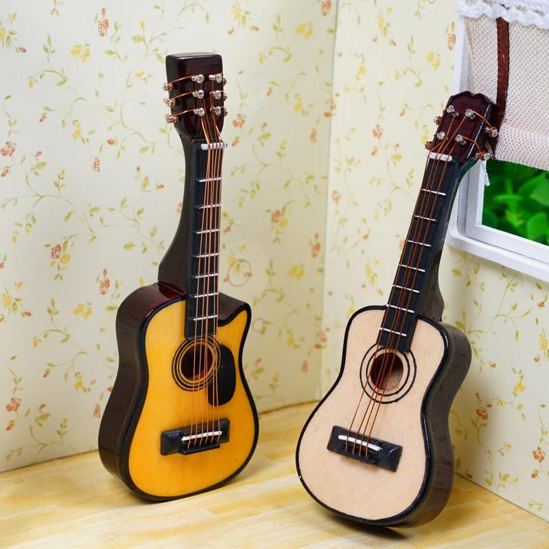 New 1/12 Scale Dollhouse Miniature Guitar Ukulele Accessories Instrument Diy Part For Home Decor Kids Gift Wood Craft Ornaments
