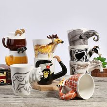 3D Ceramic Animal Mug Coffee Milk Tea Mug Cute Animal Handle Hot Drinking Cups Hand Painting Dog Deer Panda Kids Gift Mugs(China)