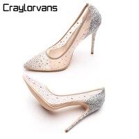 ee6308b67 Craylorvans Strass Sapatos De Salto Alto Das Mulheres Apontou Saltos Do  Dedo Do Pé de Cristal