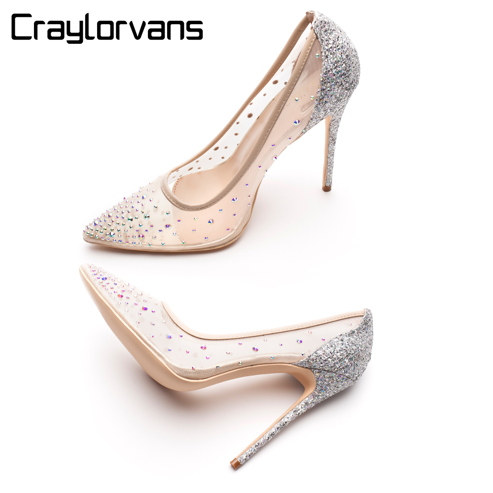 Craylorvans Strass Sapatos De Salto Alto Das Mulheres Apontou Saltos Do Dedo Do Pé de Cristal que bling Prata Sapatos de salto alto sapatos de Casamento Festa de bombas 12 cm