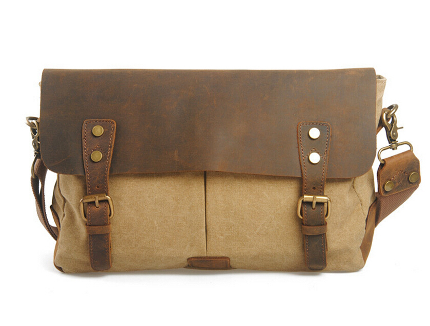 Vintage Canvas messenger Solid crazy horse leather soft man travel retro school Laptop hasp cover military style Cross-body Bags men retro canvas camera bag horse leather soft travel bags retro photo camera backpack hasp cover military style for canon nikon