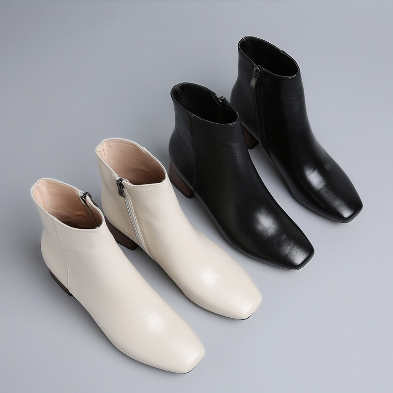 2017 autumn and winter new square head boots with side zipper female boots thick and leather big size boots martin new winter with thick british style short canister female fall side zipper boots