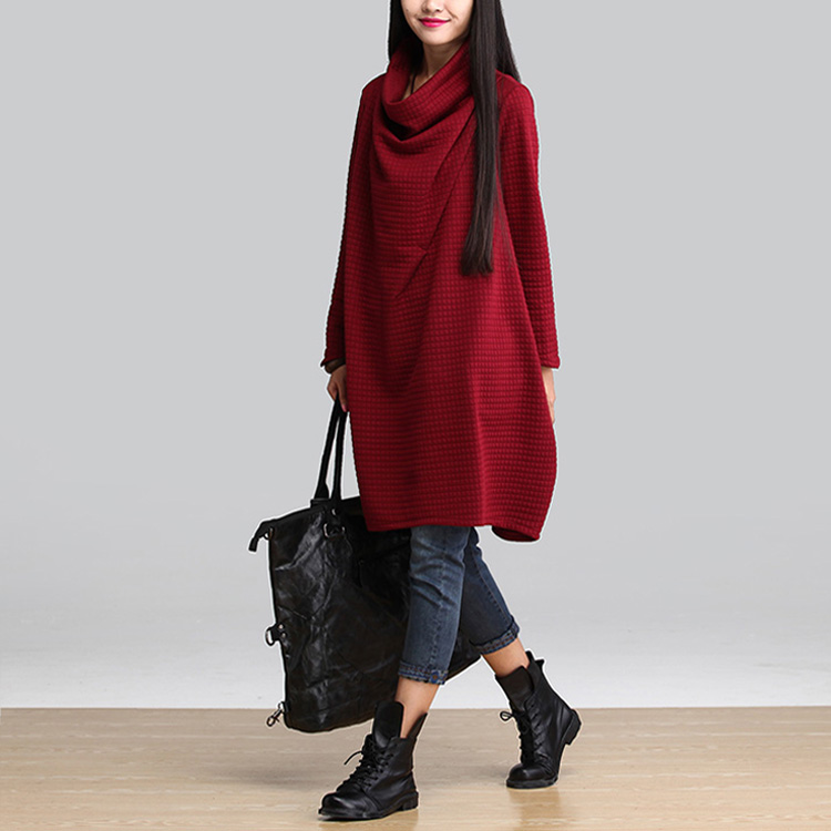 KINE PANDA Autumn Winter Korean Fashion Stacks of Solid Color Loose Long Sleeved Maternity Dress