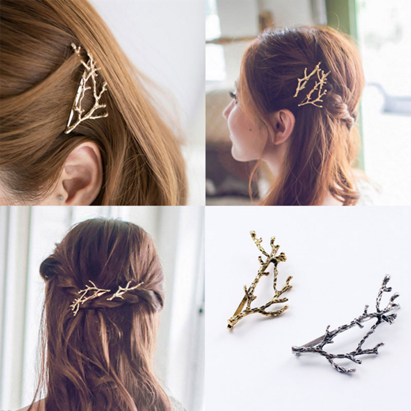 M MISM Elegant Metal Tree Branch Hairpins Hair Clips for Women barrettes Female Headwear Alloy Hair Accessories Hair Clip New halloween party zombie skull skeleton hand bone claw hairpin punk hair clip for women girl hair accessories headwear 1 pcs