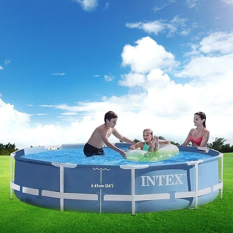 INTEX 305*76 cm Ronde Cadre Piscine Hors Sol Ensemble Pipe Rack Étang Famille Piscine Filtre Pompe Piscine couverture Pour L'été B32001