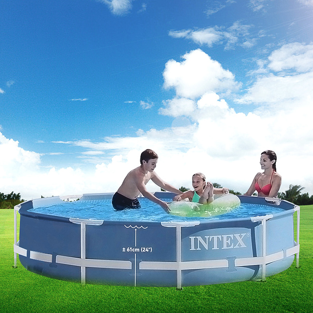 INTEX 305*76cm Round Frame Above Ground Pool Set Pipe Rack Pond Family Swimming Pool Filter Pump Pool Cover For Summer B32001
