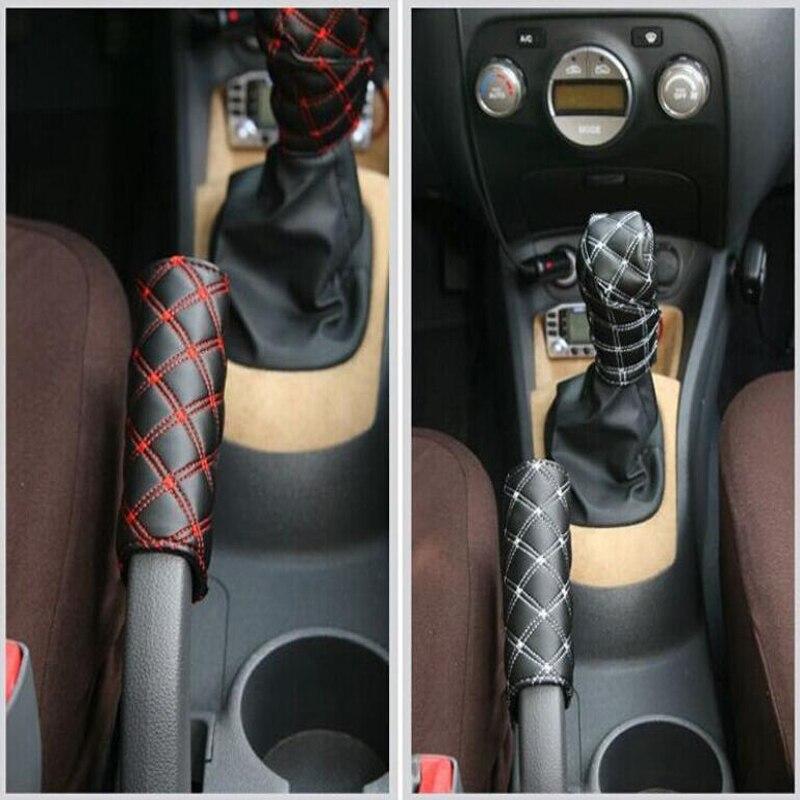 2pcs PU Leather Car Handbrake Covers+Gear Shift Collars Gear Shift Knob Cover Protect Auto Anti Slip Handle Sleeve Universal