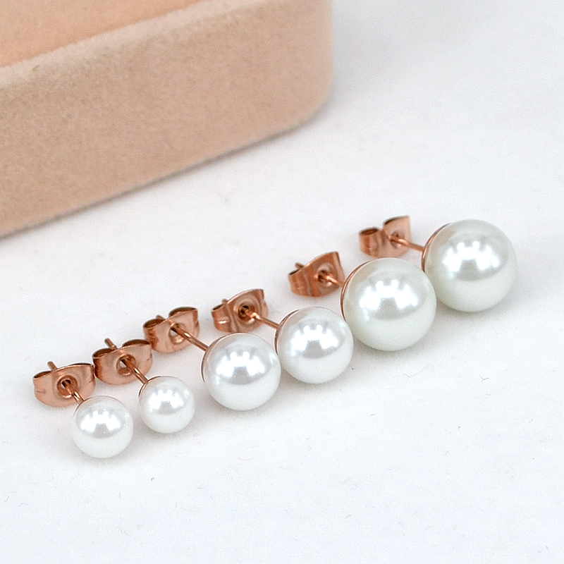 YUN RUO Fesyen Stainless Steel Jewelry Rose Gold Color Classic Pearl Stud Earrings for Girl Girl Gift High Polish Never Fade