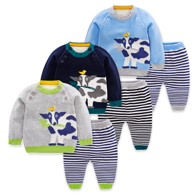 2018 Baby Boy Clothes 2pcs Clothing Girls Sets Tracksuit For Boys Casual Knit Sweater Cartoon Children Sport Suit Newborns