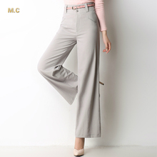 linen cotton plus size solid colour wide leg pants for women high waist new fashion gray white beige spring autumn clx0601