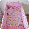 Promotion! 6PCS Hello Kitty Cot Bumper Set Crib Bedding Set Pink Cotton Baby Bedding (bumpers+sheet+pillow cover)