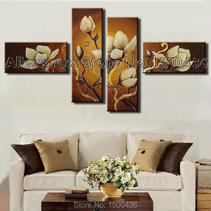 Hand Painted Modern Abstract Flower Orchid Canvas Painting Oil Set 4 ...