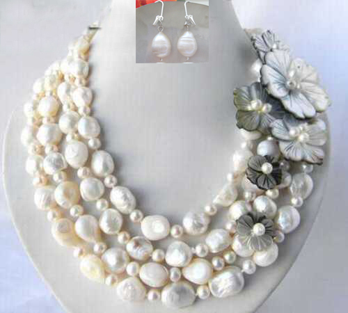 4 row 4 5 6mm/11 12mm fresh water white pearl shell Flower Necklace