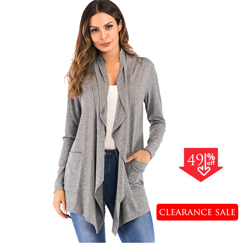 2019 Hot Fashion Open Front knitted jumper Long Sleeve Autumn Knit Cardigan Sweater Shawl Women  Solid Long Kimono Cardigan