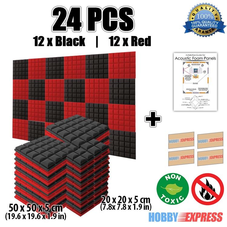 Arrowzoom 24 pcs Hemisferio rojo y negro Rejilla Panel acústico - Decoración del hogar