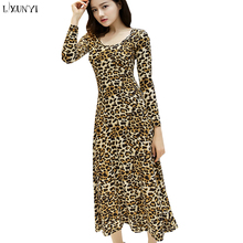 92f0a162ace LXUNYI S-4XL Autumn Leopard Dress Long Sleeve Woman Round Collar Calf Dress  Plus Size