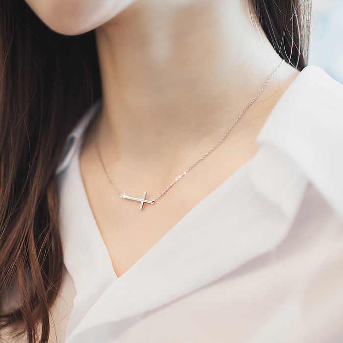 Nouveautés 925 argent Sterling croix colliers pendentifs pour femmes Long colliers bijoux de mariage