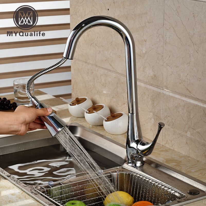 Creative Chrome Brass Kitchen Faucet Single Hole Deck Mount Pull Out Kitchen Mixer Taps Dual sprayer nozzle