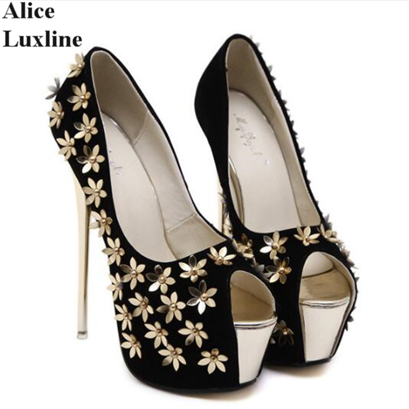 2017 Flower woman high heels sexy peep toe platform pumps 16.5CM black USA open toe thin heels Party wedding shoes Zapatos Mujer summer zapatos mujer peep toe 15cm thin high heels sandals crystal platform sexy woman shoes wedding dance shoes