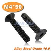 100pcs/lot DIN7991 M4*50 Grade10.9 Alloy Steel Flat Head Socket Screw