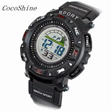 CocoShine ZM-856 Free shipping & Wholesale Fashion Men's Rubber Band LED Digital Sports Waterproof Diving Quartz Wrist Watch