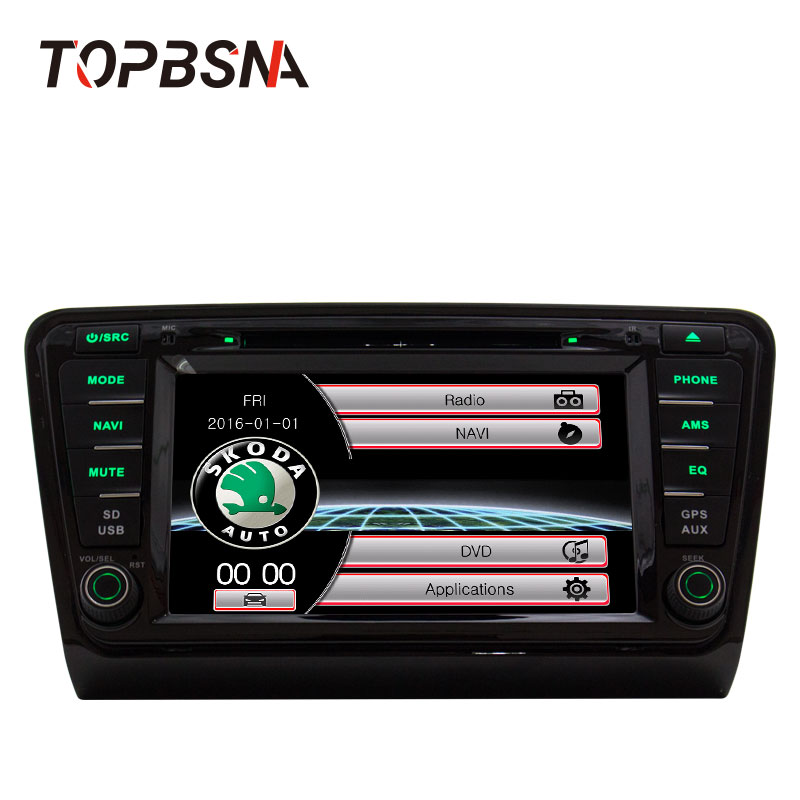 TOPBSNA 8 Wince Car DVD Player For VW Skoda Octavia III 2014 2015 GPS Navigation HD Touch Screen Microphone Bluetooth free map