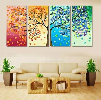 168x75CM Four Season Tree Partical Round Diamond Painting with New Silk Cloth Soft Canvas AB Drills 5D DIY Home Decoration