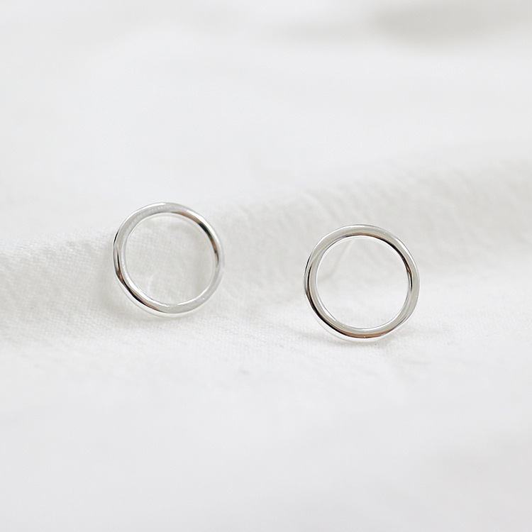 Minimalist 925 sterling silver geometric circle stud earrings for women pendientes mujer, fashion earing aretes brincos jewelry