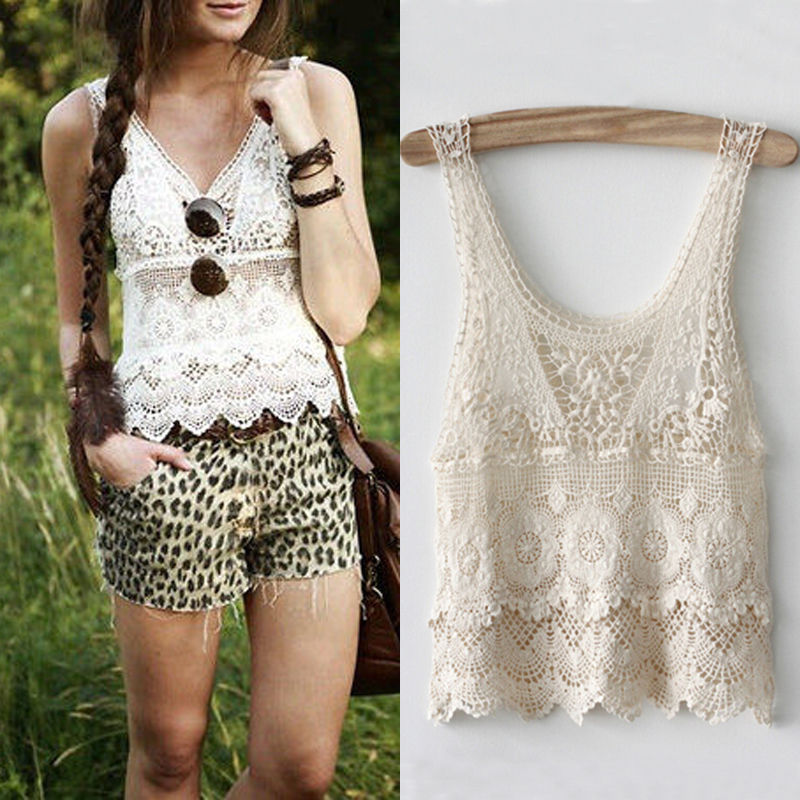 Chic Women's   tank     tops   Summer Sexy Hippie Boho Crochet Lace Beige Vest   Tank     Tops   Women Blouse Short