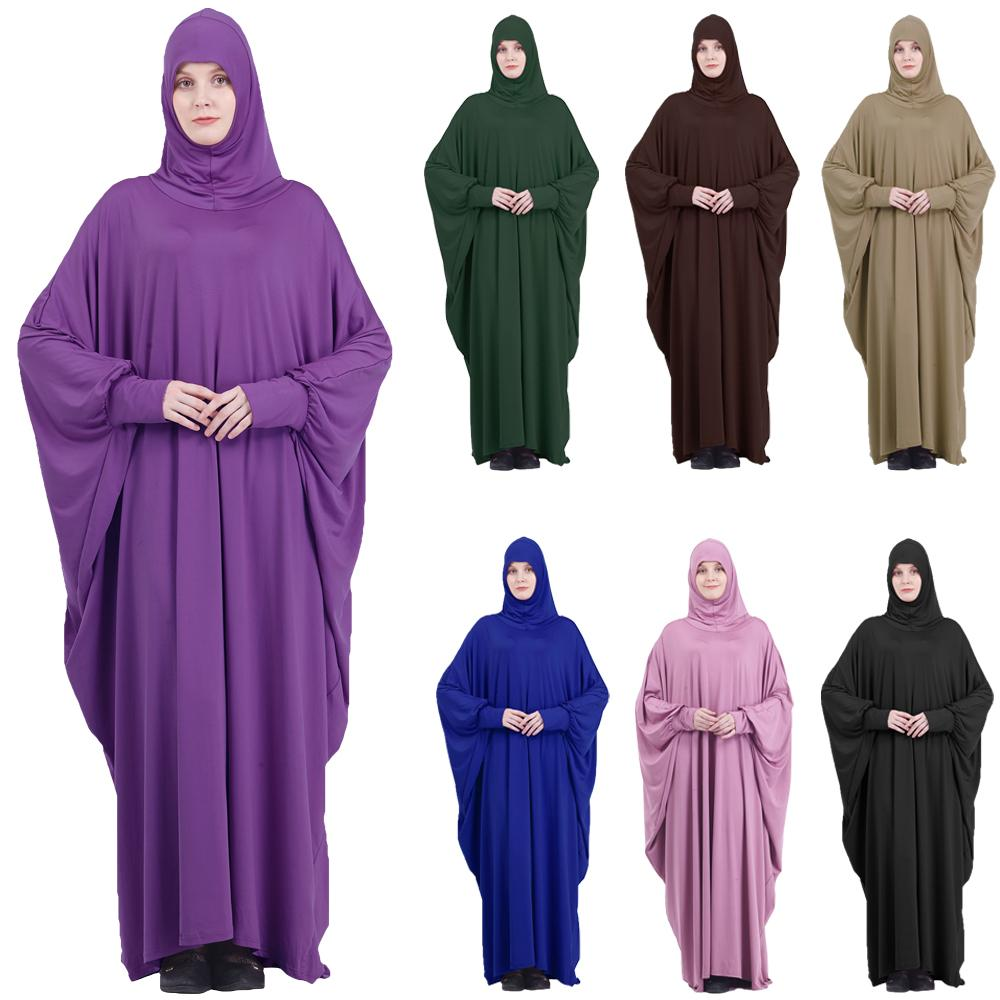 Muslim Women Full Cover Hooded Abaya Long Maxi Dress Islam Prayer Robe Kaftan Jilbab Arabic Ramadan Solid Color Worship Service