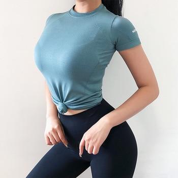 SALSPOR Sport Women Seamless Yoga Shirts Short Sleeve Basic Scoop Neck Shirts For Women Gym Running Fitness Tops Sport T Shirts 1