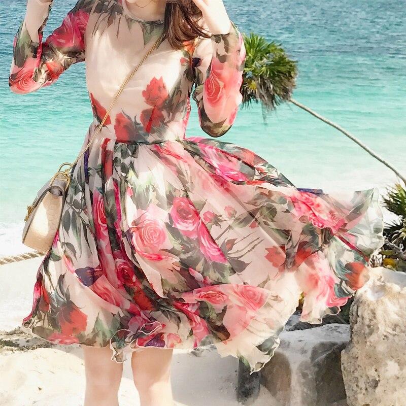 New  Household Rose Hummingbird Printed Chiffon  dress