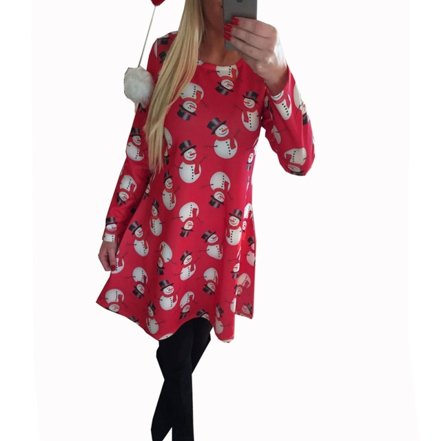 Autumn Dress New Style 2016 Women Long Sleeve Retro Dress Winter Dresses Plus Size Vestidos Women's Christmas Print Casual Dress