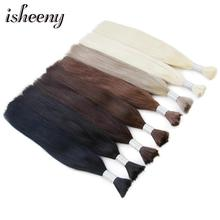 isheeny 14 18 22 Remy Straight Bulk Human Hair For Braiding 1 Bundle Pure Color Extensions