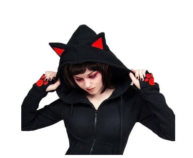 Holloween Party Women Sweatshirt Harajuku Casual  Female Long Sleeve Hoody Cat Ear Printed Hoodies Tracksuit Jumper Outerwear