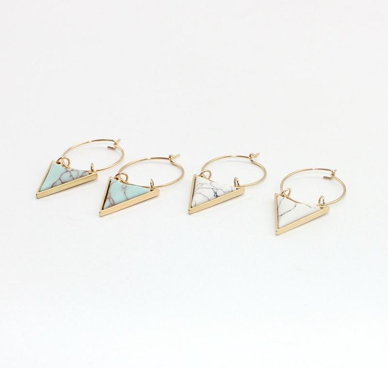 Bohemia Unique Surround Triangle Natural White Green Marble - Κοσμήματα μόδας - Φωτογραφία 5