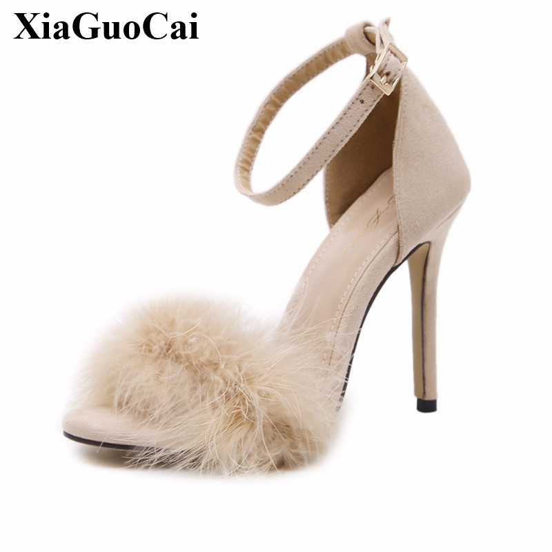 2017 New Sandals Women Shoes Summer High Heels Sexy Peep Toe Sandals Fur Thin Heels Women Sandals Ankle Strap Footwear H175 35