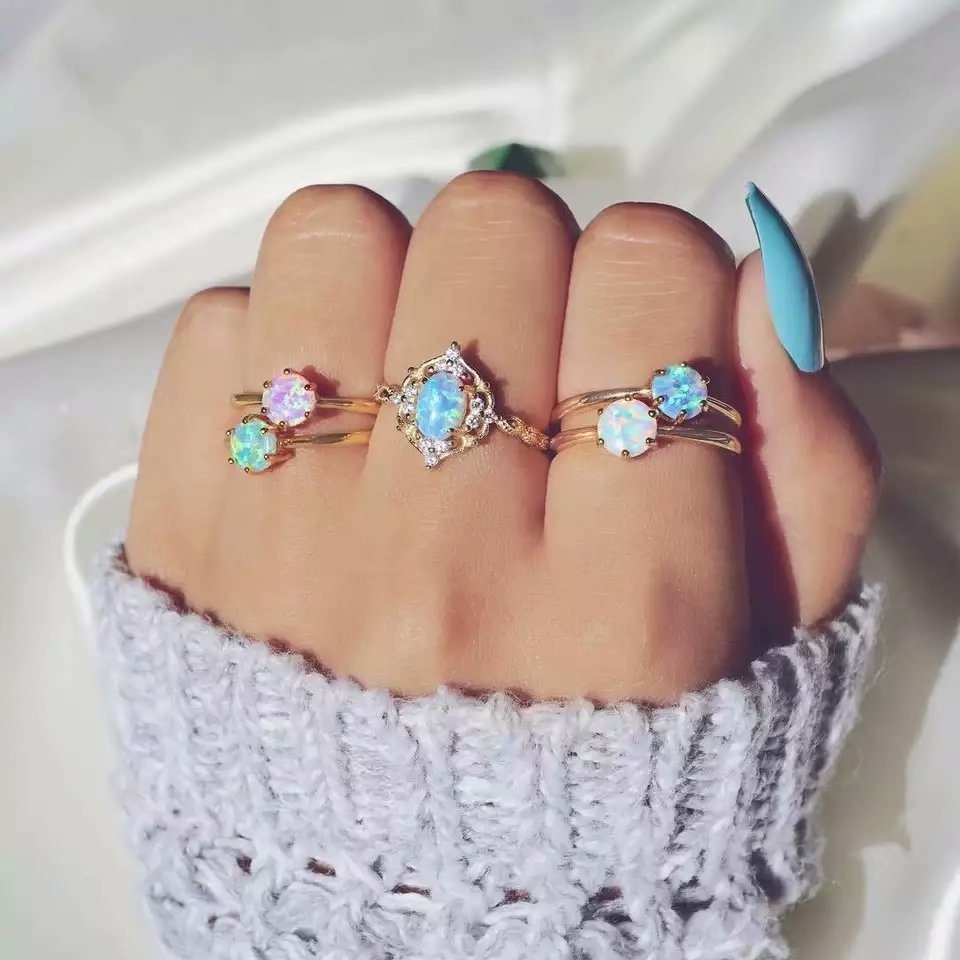 5 Pcs Women Girls Lady Retro National Turquoise Rings Set Silver Decoration Jewelry Gift Engagment Rings