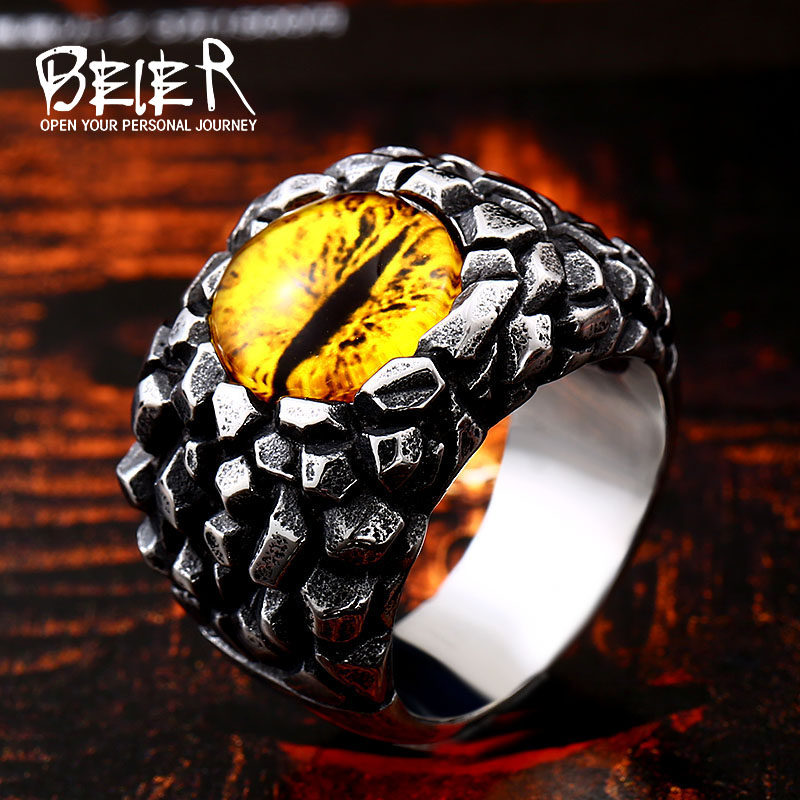 BEIER Stainless steel Vintage Retrol jewelry Evil Eye Charm ring mens rock ring drop shipping wholesal christmas Gift BR8-527 alloy tooth eye rock ring