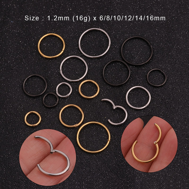Septum Ring Surgical  steel hinged ring clicker with metallic charm