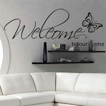 Добро пожаловать в наш дом Бабочка узор виниловые наклейки на стену цитаты гостиной стены Искусство Декор diy черные наклейки