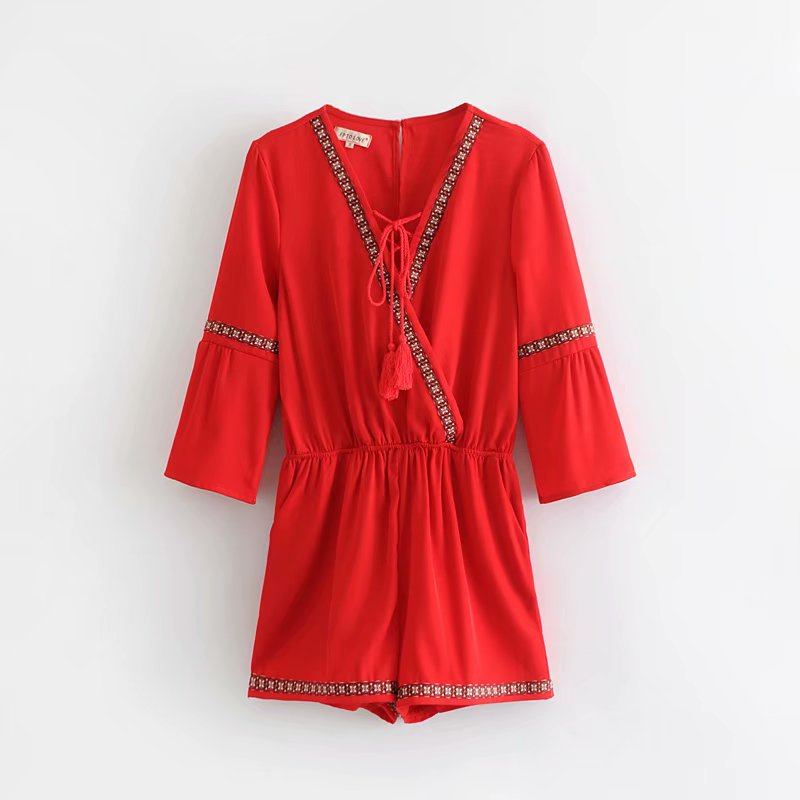 NiceMix 2019 Summer chiffon Beach Boho Playsuit vneck Red Halter solid Hollow Out Party Short Jumpsuits Rompers