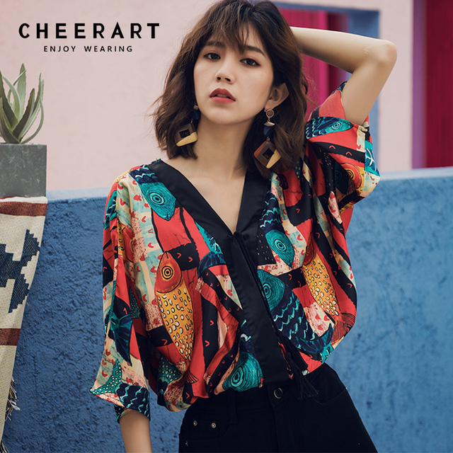 429f6bfaa820 Cheerart Bohemian Ethnic Style Womens Crop Tops And Blouse V Neck Beach Top  Vintage Print Summer