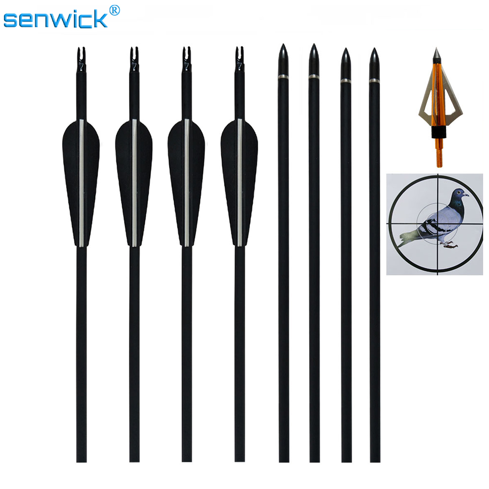 12pcs 32 Length Spine 600 Carbon Arrow With Replaceable Arrowhead Archery for Compound Recurve Bow Hunting