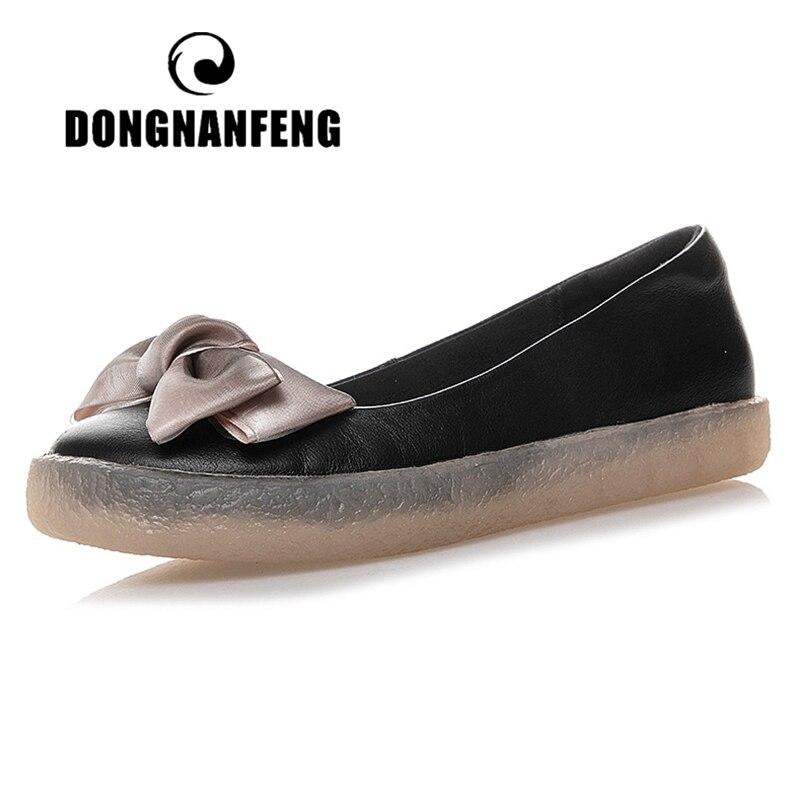 Женские мокасины DONGNANFENG, на плоской подошве, из натуральной кожи, с бантом, без шнуровки, в стиле ретро, большие размеры 43, JZ-19115