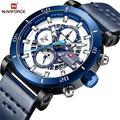 NAVIFORCE Sport Chronograph Männer Uhr Mode Analog Leder Armee Military Mann Quarz Uhr Relogio Masculino 2018 Blau Timing-in Quarz-Uhren aus Uhren bei