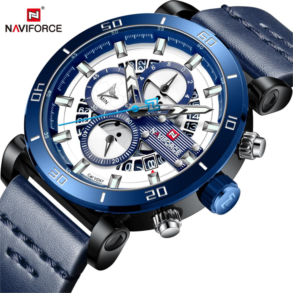 NAVIFORCE Sport Chronograph Men Watch Fashion Analog Leather Army Military Man Quartz Clock Relogio Masculino 2018 Blue Timing