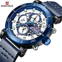 NAVIFORCE Sport Chronograph Men Watch Fashion Analog Leather Army Military Man Quartz Clock Relogio Masculino 2018 Blue Timing(China)