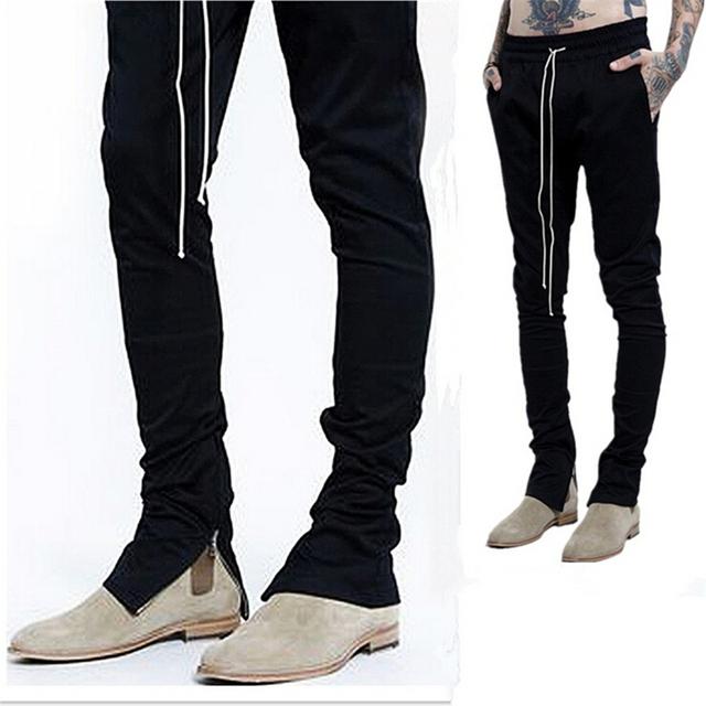 2016 novos homens do hip hop temor de deus nevoeiro justin bieber skate calças skinny slim longos zíperes tarja calças basculador calças